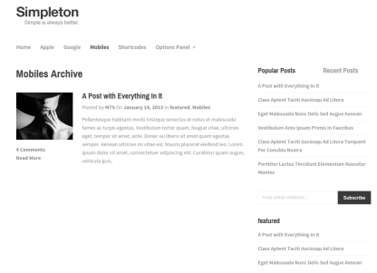 Simpleton Mobile Page