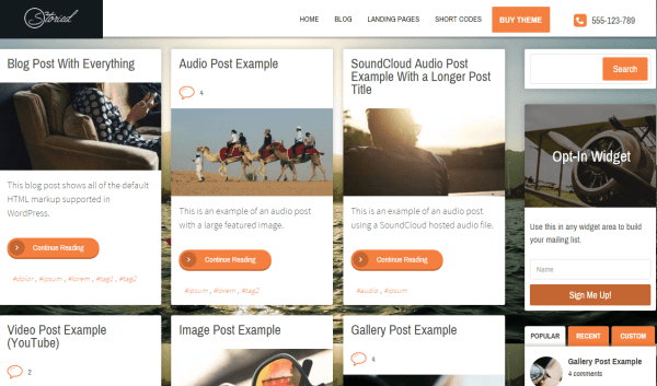 Storied- Home page layout with blog posts