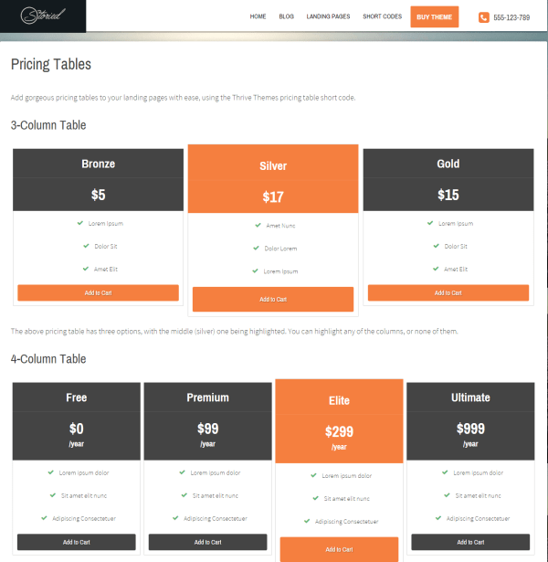 Storied- Pricing tables using shortcodes