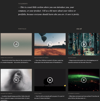 TV Elements- Front page featured with Video Portfolio items
