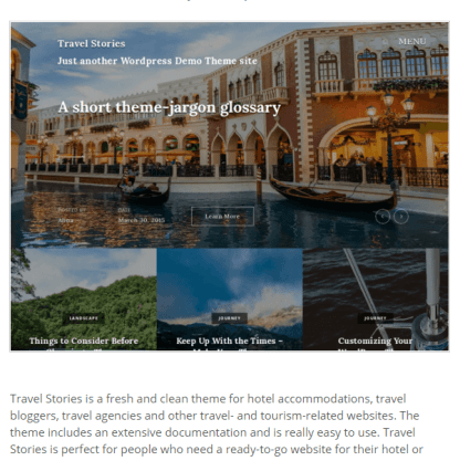 Travel Stories- A WordPress theme for hotel accomodations, travel bloggers