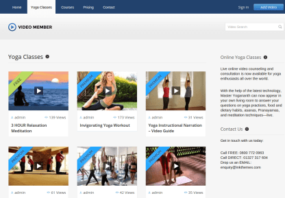 Video Member Yoga Classes Page