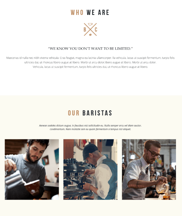 About Us Page - Gourmet