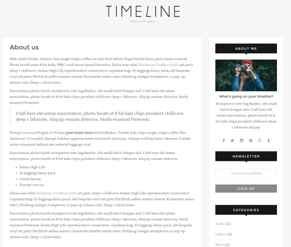 About Us Page - Timeline