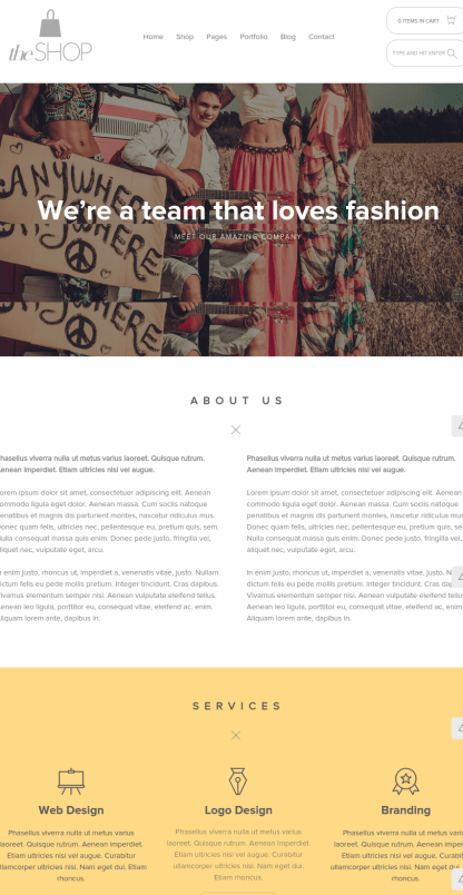 About page of theShop