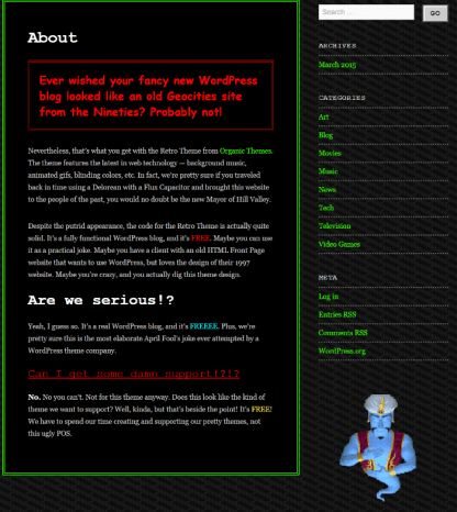 About us page of 90s Retro theme
