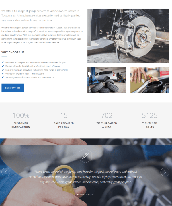 About us page of Car Service theme