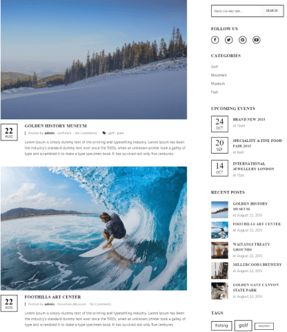 Blog page of Hillter theme