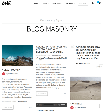 Blogpage mansory One theme