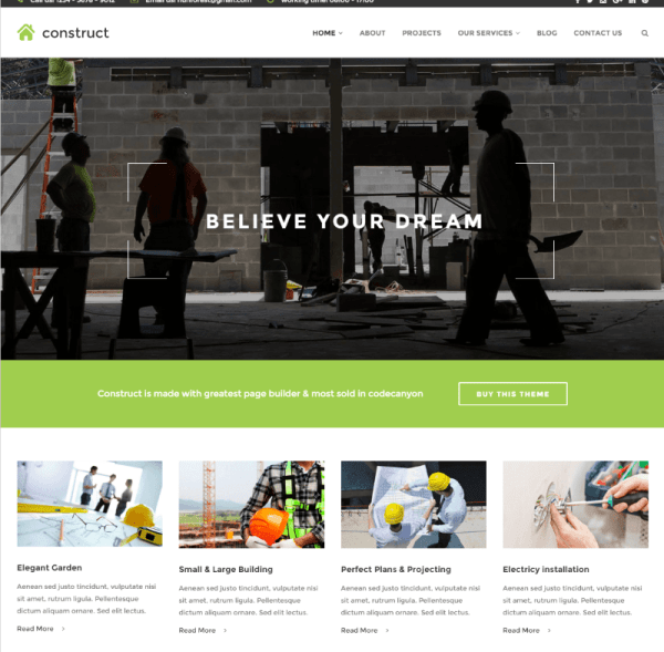Boxed version homepage of Construct theme