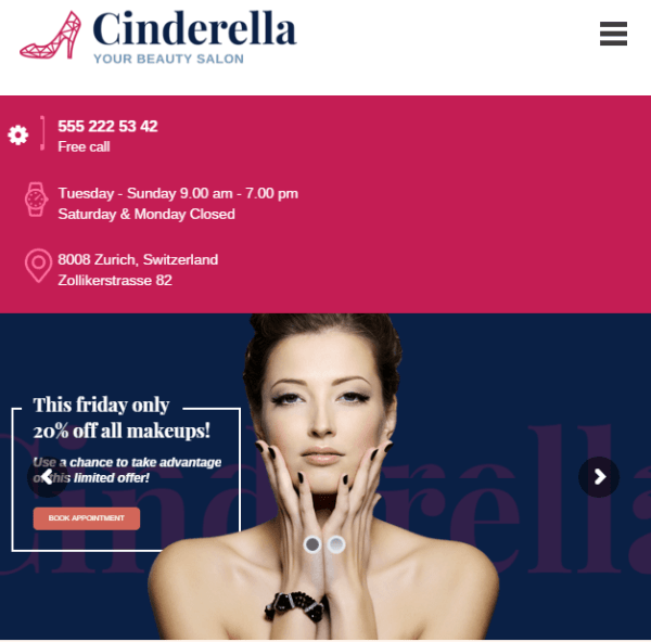 Cinderella -Beauty and SPA WordPress theme