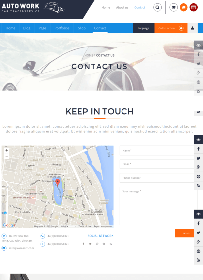 Contact page of Autowork