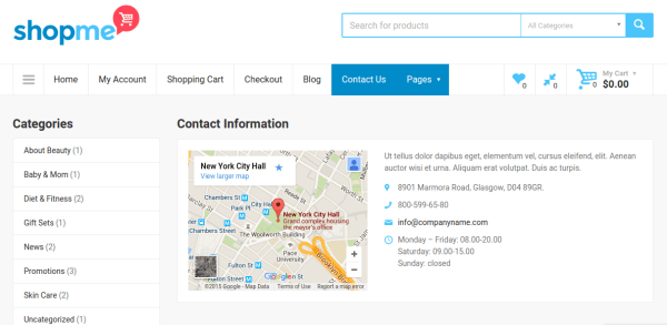 Contact page of ShopMe