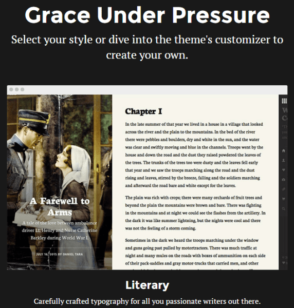 Grace Under Pressure – Blogging WP theme