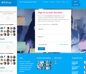 Homepage of Thrive