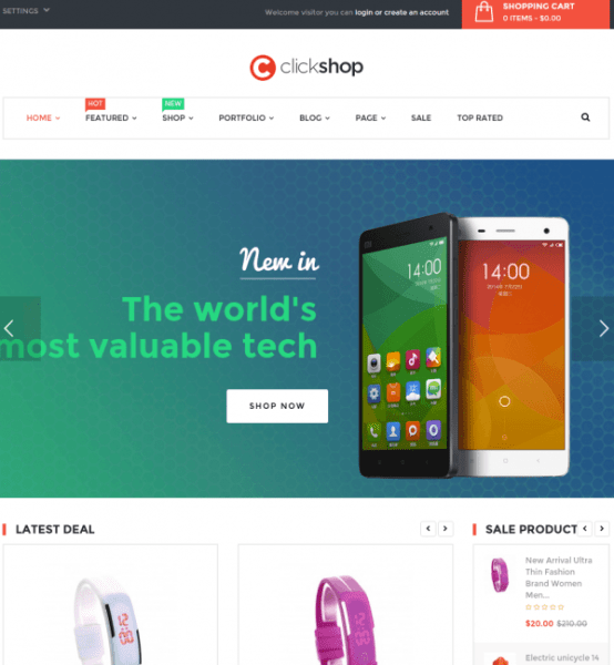 Homepage of clickshop
