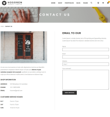 Contact us page of Hosoren theme