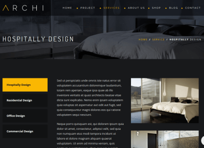 Hospitality page of Archi