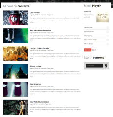 News page of MUSIC FLOW theme
