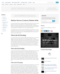 Page layout of WP  Dalvinci theme