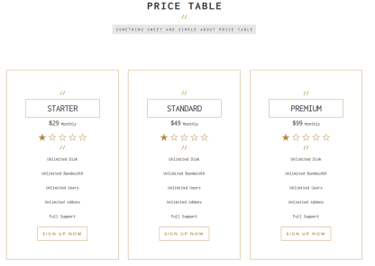 Pricing Table - Empro