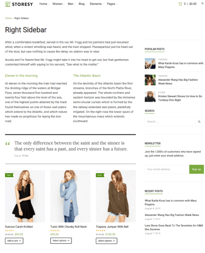 Right Sidebar Page - Storesy