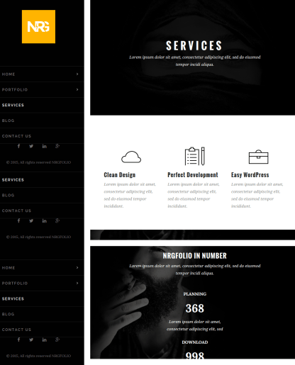 Services page of NRGFolio