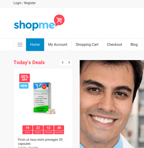 ShopMe homepage