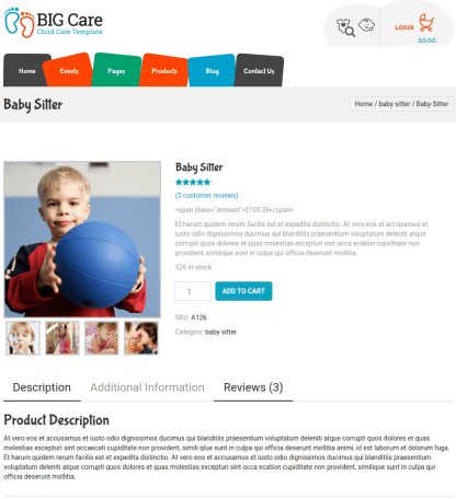 Single Product page of Bigcare