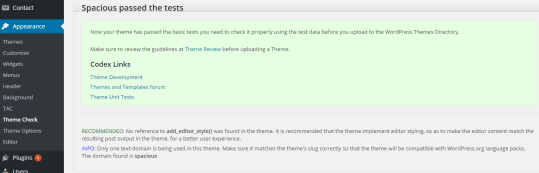 Theme Check plugin result for Spacious