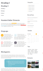 Typography of Unica theme