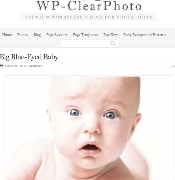 WP-clearPhoto – WordPress blogging theme for photographers
