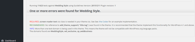 Wedding style - Theme Checker result