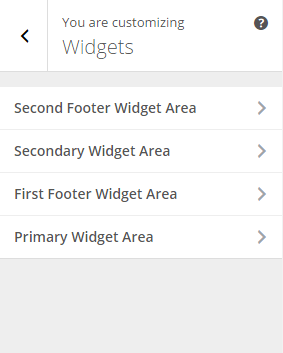 Weddings - Widget areas option in Live customizer