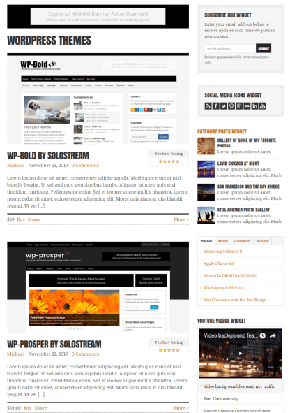 WordPress themes page by WP-Critique theme.