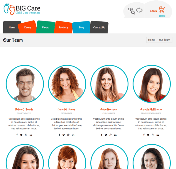 team Page of Bigcare
