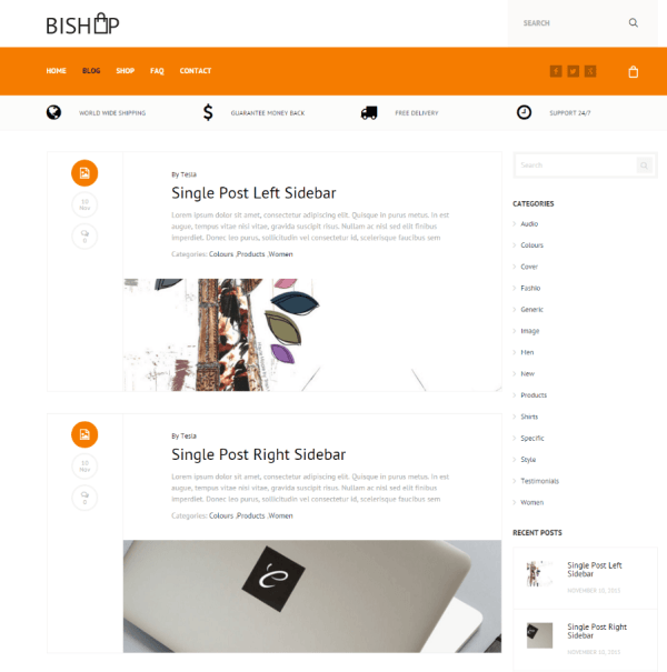 Bishop - Blog page with right sidebar
