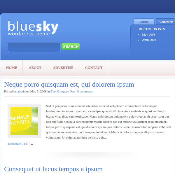 BlueSky WordPress Theme