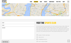 Contact Page of Sports Club