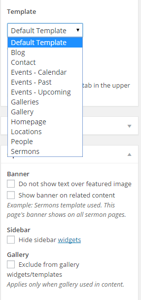 Exodus - Page options and templates