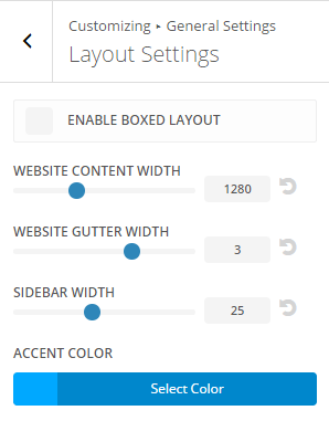 Extra - Customize General Settings - Layout settings