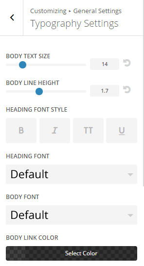 Extra - Customize General Settings - Typography settings 1