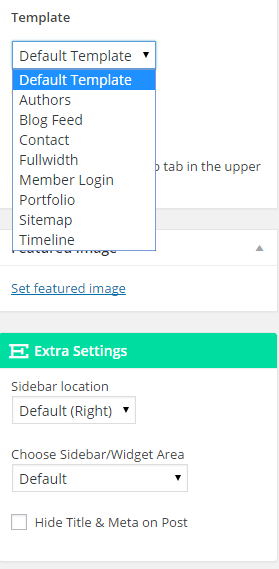 Extra - Page templates and sidebar settings on Pages