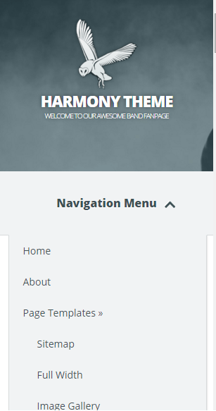 Harmony - Mobile portrait version - mobile menu