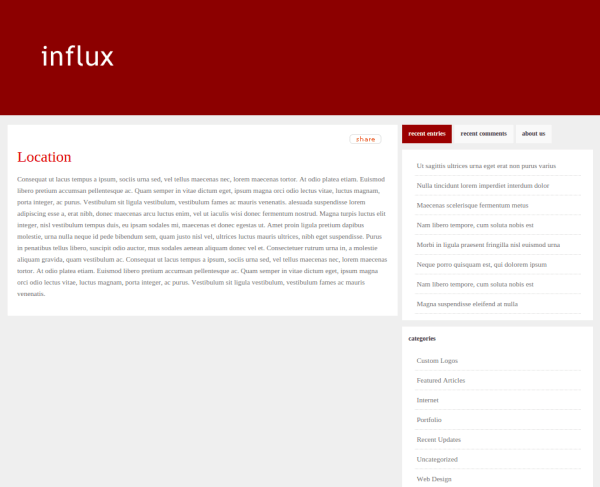 Location Page of Influx