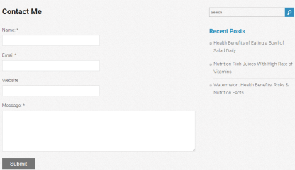 Nutrition - Contact page layout