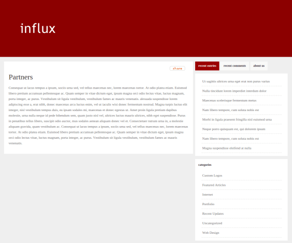 Partners Page of Influx