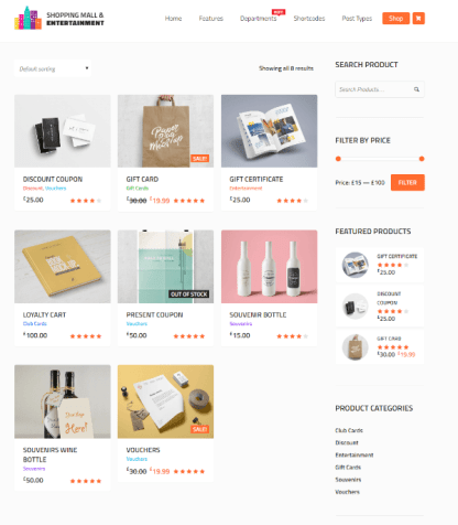 Shopping Mall - shop page