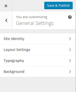 Theme Customizer- General Settings