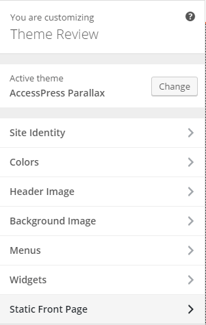 AccessPress Parallax - Live customizer